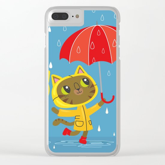 Rainy Day Kitty Cats Clear iPhone Case