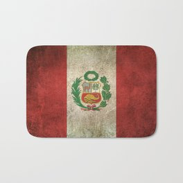 Old and Worn Distressed Vintage Flag of Peru Bath Mat