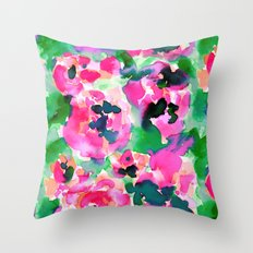 Abstract Flora Green Throw Pillow