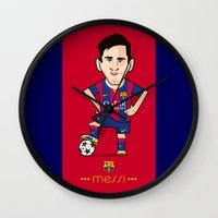 messi Wall Clocks featuring Lio Messi - Barcelona v2 by softdelusion