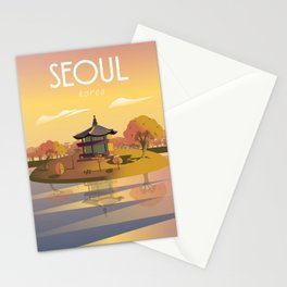 Seoul Korea Travel Poster Printable Wall Art Stationery Cards