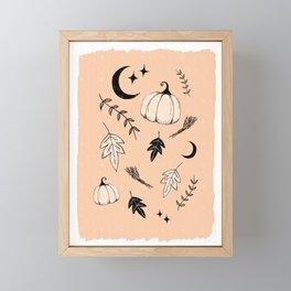 Halloween, pumpkin, moon, stars and leaf Framed Mini Art Print
