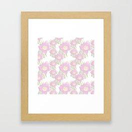 Pink Tulips In Bloom- Sketch Style Pink Floral Pattern Framed Art Print