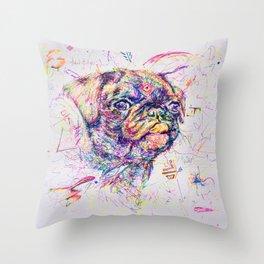 Pug Dog // Pugression Throw Pillow