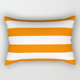 Bright Tumeric Orange and White Wide Horizontal Cabana Tent Stripe Rectangular Pillow