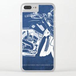 Blue motorcycle blueprint, HD VRSCF V-Rod Muscle,white line,home decor,man office, man cave decor Clear iPhone Case