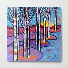 Yellow Moon on the Rise Magical Aspen Forest Metal Print