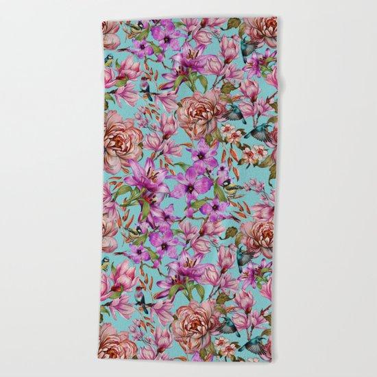 Watercolor Floral Pattern II Beach Towel
