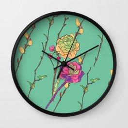Oriental flower stripe green Wall Clock
