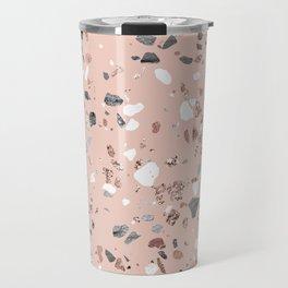 Pink Quartz and Marble Terrazzo Travel Mug