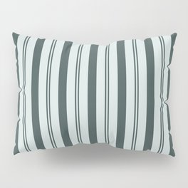Night Watch Color of the Year Thick and Thin Vertical Stripes on Cave Pearl Light Mint Green Pillow Sham
