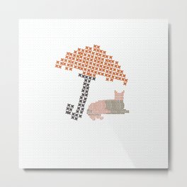 Whatever The Weather Funny Cat Metal Print