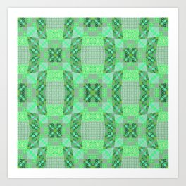 Adorable Geometric Quilt in Retro Lime and Grey Art Print