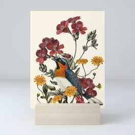 Little Bird and Flowers Mini Art Print