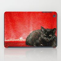 sofa iPad Cases featuring cat on red sofa by ANArt