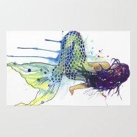 mermaid Area & Throw Rugs featuring Mermaid by Sam Nagel