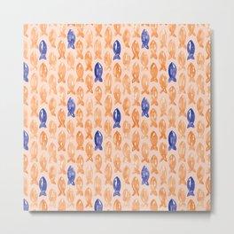 Watercolour Fish | Peach and Blue Metal Print