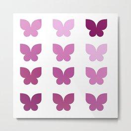 Butterflies in Purple Ombre Metal Print