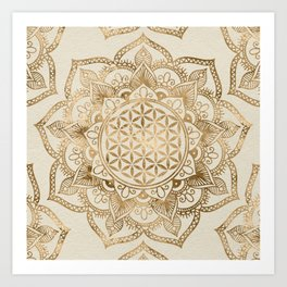Flower of Life in Lotus - pastel golds and canvas Art Print