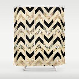 Black & Gold Glitter Herringbone Chevron on Nude Cream Shower Curtain