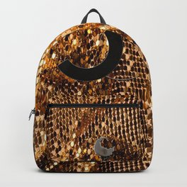 glamour vintage earrings black gold Backpack
