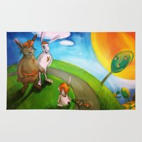 rabbits Area & Throw Rugs featuring Rabbits by András Balogh