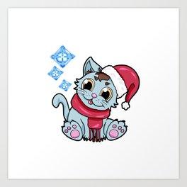xmas kitty Cat Christmas Winter Art Print