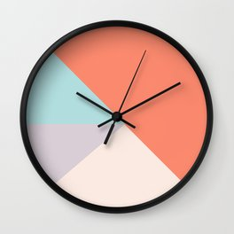 Geometric orange teal lavender color block pattern Wall Clock