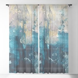Timeless: A gorgeous, abstract mixed media piece in blue, pink, and gold by Alyssa Hamilton Art Sheer Curtain