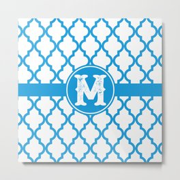 Blue Monogram: Letter M Metal Print