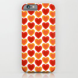 Mid-century Modern Hearts, Abstract Vintage Heart Pattern in Hot Red and Orange Color iPhone Case