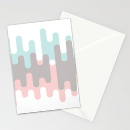 Pastel Pink ,Gray and Blue Liquid Shape Stationery Cards