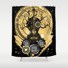 Retro geometric music themed design with guitar tree Shower Curtain