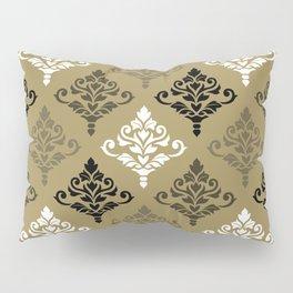 Cresta Damask Ptn Black White Bronzes Gold Pillow Sham