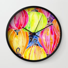 Vietnamese Rainbow Lanterns Wall Clock