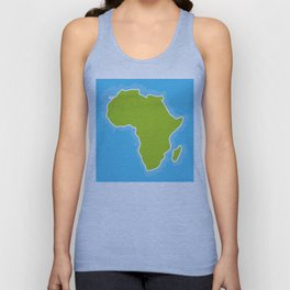 map of Africa Continent and blue Ocean. Vector illustration Unisex Tank Top