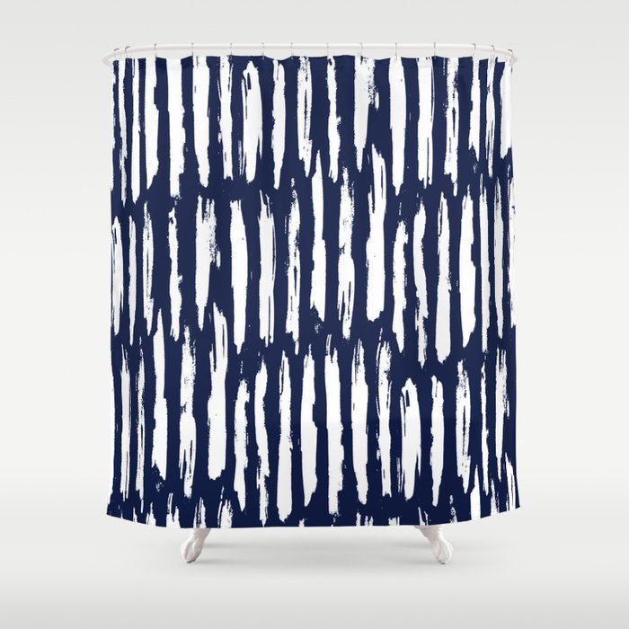 Vertical Dash White On Navy Blue Paint Stripes Shower Curtain