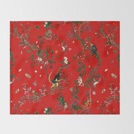 Monkey World Red Throw Blanket