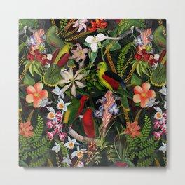 Vintage & Shabby Chic - Black Tropical Parrot Night Garden Metal Print