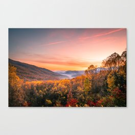Autumn Sunrise in the Great Smoky Mountains of Tennessee Canvas Print