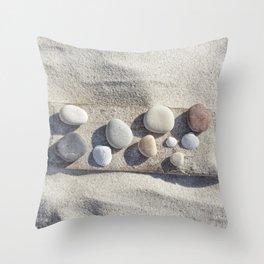 Beach pebble driftwood still life Throw Pillow