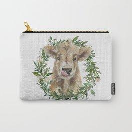 Highland Calf Floral Wreath Carry-All Pouch