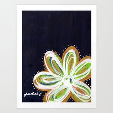 Navy and Gold Flower Art Print