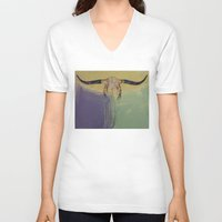 bull V-neck T-shirts featuring Bull by Michael Creese
