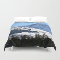 skiing Duvet Covers featuring Back-Country Skiing  - I by Alaskan Momma Bear