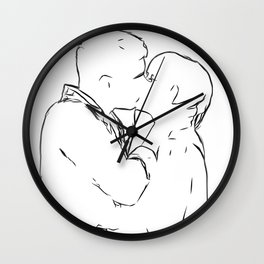 Lovers Minimal Drawing Illustration Wall Clock