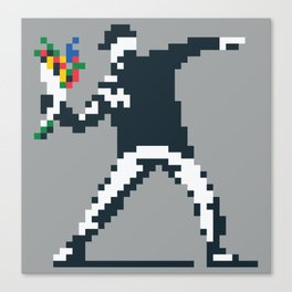 Flower Thrower Graffiti Pixel Canvas Print