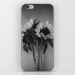 Black and White Sunflowers iPhone Skin