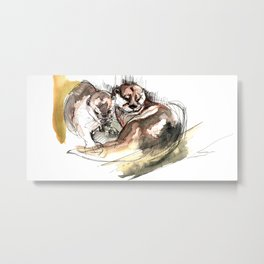Asian small-clawed otter (c) 2017 Metal Print