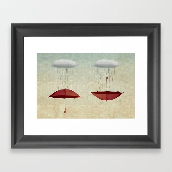 embracing the rain Framed Art Print